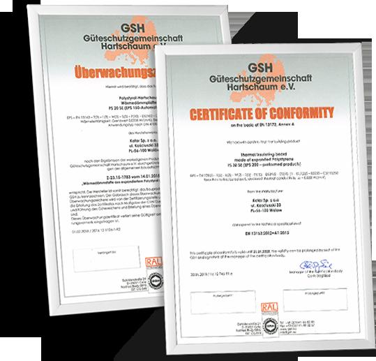 kotar certyfikaty